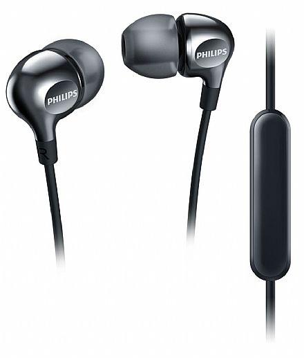 Fone de Ouvido Intra-Auricular Philips SHE3705BK - com Microfone - Conector 3.5mm - Preto