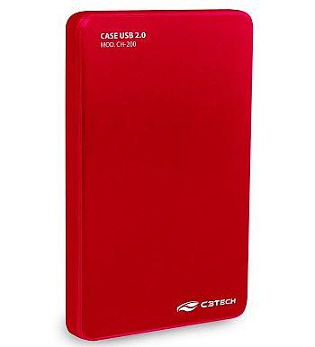 "Case para HD 2.5"" C3 Tech - Vermelho - CH-200-RD - USB 2.0"