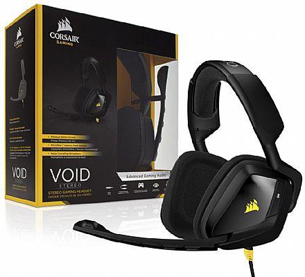 Headset Corsair Gaming Void Stereo CA-9011131-EU - Conector 3.5mm - com Cancelamento de Ruidos - Preto e Amarelo
