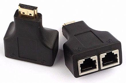 Extensor HDMI via Cabo de Rede - HDMI para RJ45 - (HDMI M x RJ45 F) - Alcance de até 30 metros