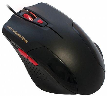 Mouse Gamer K-Mex MO-Y135 - USB - 1600dpi - Preto e Vermelho - Botão de ajuste de dpi - 6 Botões Programáveis
