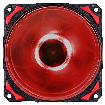 Cooler 120mm PCYes Fury F4 - 1700 RPM - LED Vermelho - F4120LDVM