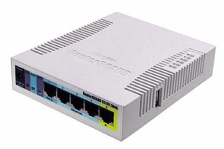 Roteador Wi-Fi Mikrotik RB951UI-2HND - 5 portas LAN - 1 porta PoE - Alta potência 1000mW