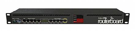 Roteador Mikrotik RB2011UIAS-RM - RouterOS - 5 portas Gigabit + 5 portas 100Mbps + 1 porta SFP - 1 porta PoE - Tela de LED - para Rack