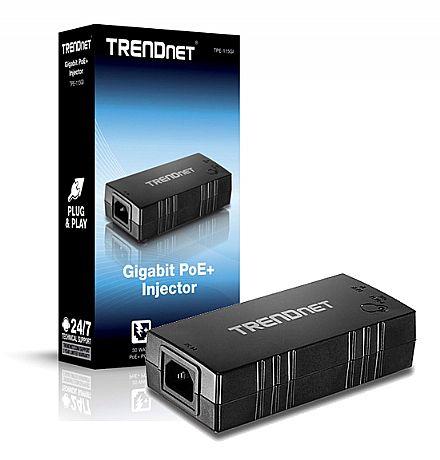 Fonte PoE+ Injetor Trendnet TPE-115GI - Gigabit - 802.3af/at - Energia e Dados através do cabo de Ethernet
