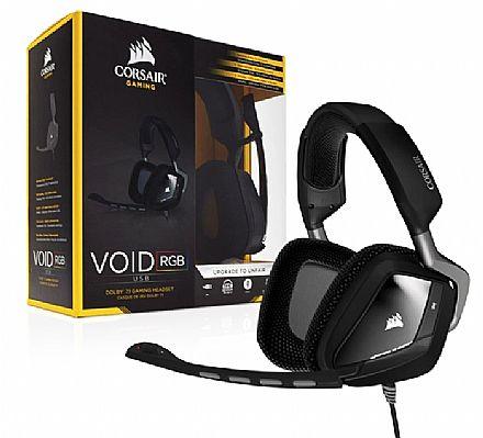 Headset Gamer Corsair Carbon Void RGB CA-9011130-NA - USB - Dolby 7.1 - com Cancelamento de Ruidos - Preto