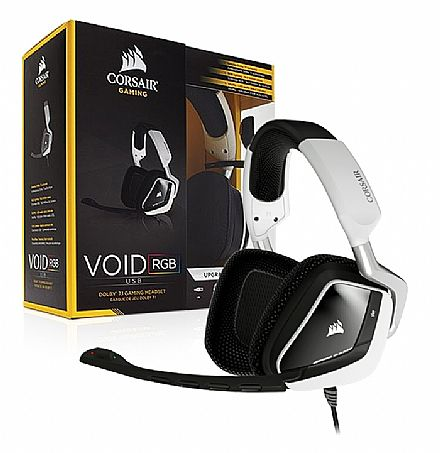 Headset Gamer Corsair Storm Void RGB CA-9011139-NA - USB - Dolby 7.1 - com Cancelamento de Ruidos - Branco