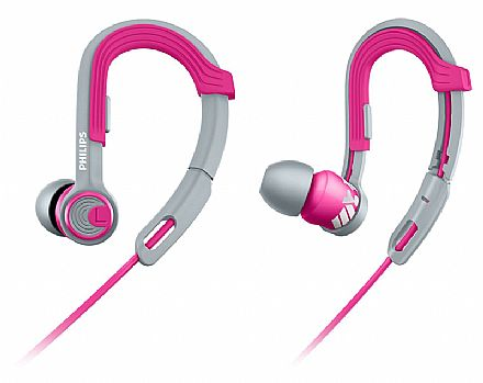 Fone de Ouvido Intra-Auricular Esportivo Actionfit Philips SHQ3300PK/00 - Gancho ajustável - Cabo reforçado - Conector 3.5mm - Rosa