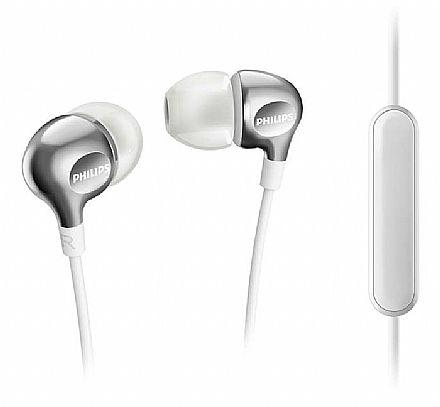 Fone de Ouvido Intra-Auricular Philips SHE3705WT/00 - com Microfone - Conector 3.5mm - Branco