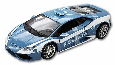 Miniatura Lamborghini Huracán LP 610-4 Polícia - Escala 1:18 - Bburago 18-11041