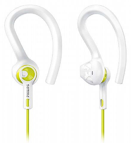 Fone de Ouvido Esportivo Actionfit Philips SHQ1400LF/00 - 3 tipos de fone em 1 - Cabo reforçado - Conector 3.5mm - Branco e Amarelo