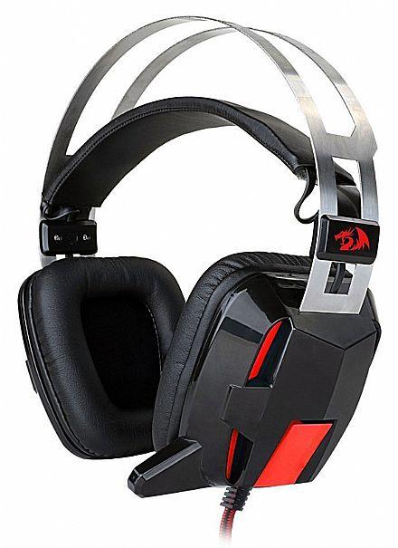 Headset Redragon Lagopasmutus - Controle de Volume e Vibração - com Microfone e LED - Conector 3.5mm - H201