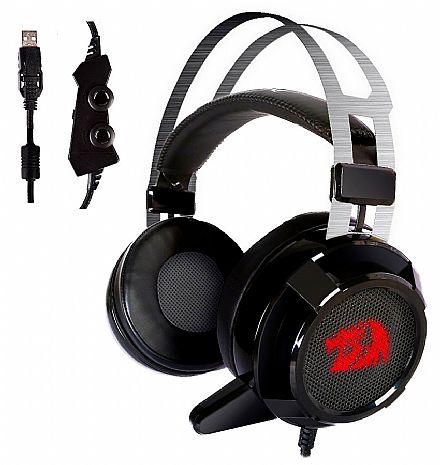 Headset Redragon Siren 2.0 - Surround 7.1 - com Microfone e LED - Driver de Vibração - Controle de Volume no Cabo - Conector USB - H301USB