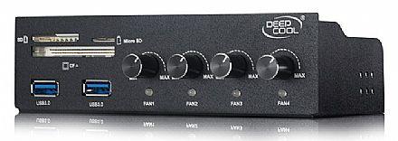 Painel Multicontrolador de FAN DeepCool Rock Master V3.0 - para 4 Fans - USB 3.0 - Leitor de Cartões - DP-FC4F2USD-RMTV3