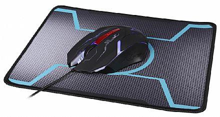 Kit Mouse e Mouse Pad Dazz Tiglon X - 1200dpi - Iluminação interna - 624666