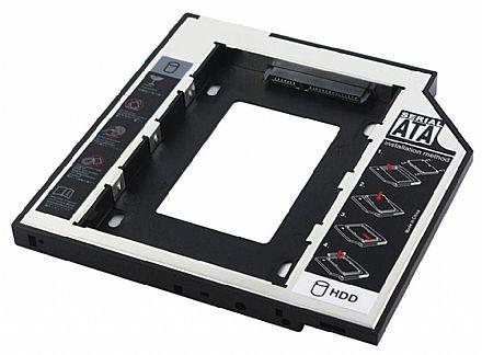 Adaptador Caddy - Converte baia de gravador de laptop SATA para HD / SSD de 2.5 - Compatível com 7mm - 9,5mm - HDCA-S095