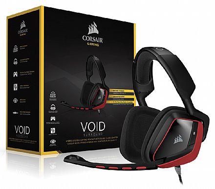Headset Gamer Corsair Void Surround Preto e Vermelho - CA-9011144-EU - Conector 3.5mm - Adaptador USB - Dolby 7.1 - com Cancelamento de Ruidos