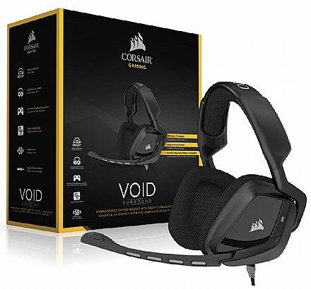 Headset Gamer Corsair Void Surround CA-9011146-EU - Conector 3.5mm - Adaptador USB - Dolby 7.1 - com Cancelamento de Ruidos - Preto