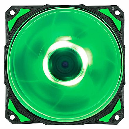 Cooler 120x120mm PCYes Fury F4 - 1700 RPM - LED Verde - F4120LDVD