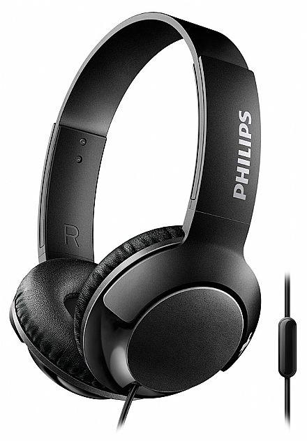 Fone de Ouvido Philips SHL3075BK/00 - Conector 3.5mm - com Microfone - Preto