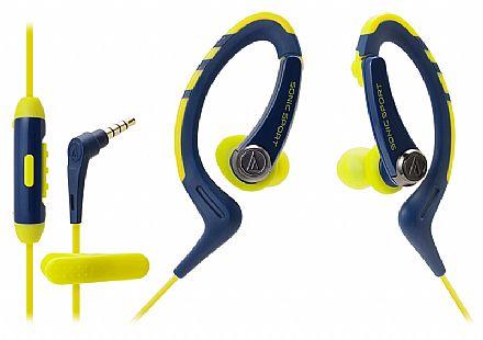 Fone de Ouvido Esportivo Audio-Technica - Intra Auricular - com Microfone - Conector 3.5mm - Azul e Amarelo - ATH-SPORT1ISNY