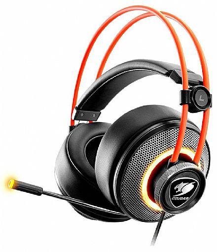 Headset Gamer Cougar Immersa Pro - Ultimate 7.1 Virtual Surround - LED RGB - Conector P2 e USB - Microfone Retrátil - CGR-U50MB-700