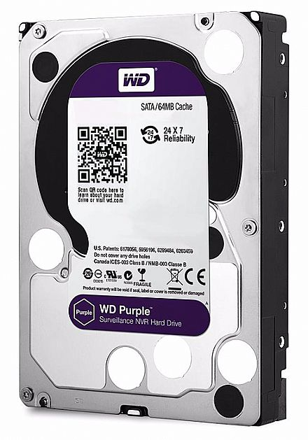 HD 1TB SATA - 5400RPM - 64MB Cache - Western Digital Purple Surveillance - WD10PURZ - Ideal para CFTV