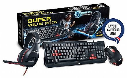 Kit Teclado, Mouse e Headset Gamer Genius - 1000dpi - com Controle de Volume - ANSI - KMH-200
