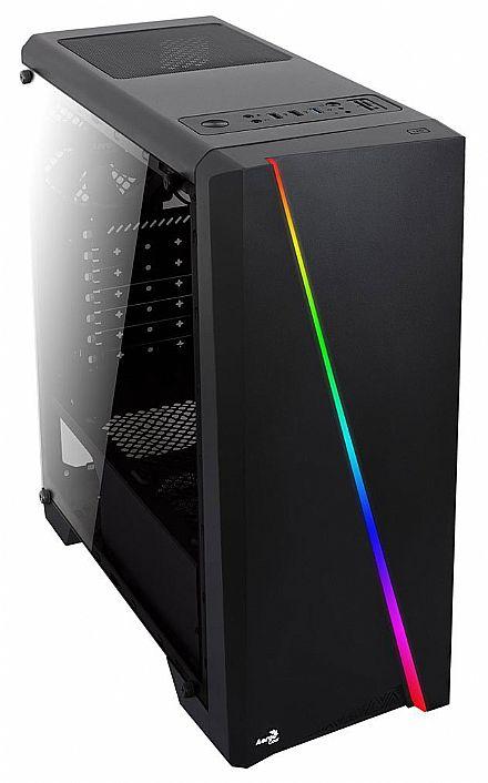 Gabinete AeroCool Cylon - USB 3.0 - Janela Lateral em Acrílico - Frontal com LED RGB - Preto