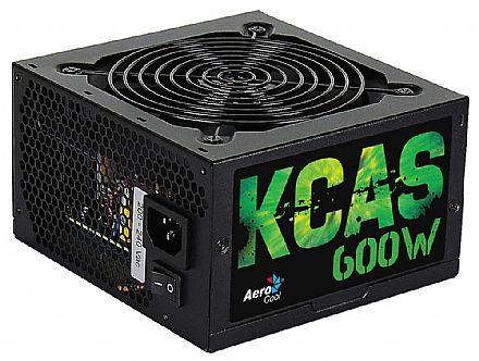 Fonte 600W Aerocool KCAS - PFC Ativo - Eficiência 85% - 80 PLUS® Bronze - KCAS-600W