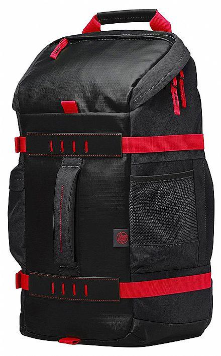 """Mochila HP Odyssey X0R83AA - Impermeável - para Notebooks de até 15.6"""" - Preta e Vermelha"""