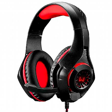 Headset Gamer Multilaser Warrior PH219 - com LED Vermelho - Conector 3.5mm e USB - Controle de Volume