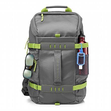 """Mochila HP Odyssey L8J89AA - Impermeável - para Notebooks de até 15.6"""" - Cinza e verde"""