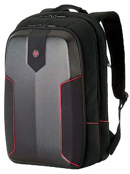 """Mochila HP 3EJ61LA Gamer - Para Notebooks de até 15.6"""" - Preto e Vermelho"""