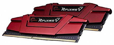 Memória Kit 16GB DDR4 3000Mhz (2 x 8GB) - G.Skill Ripjaws V - CL15 - Vermelha - F4-3000C15D-16GVRB