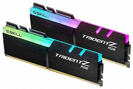 Memória Kit 16GB DDR4 3000Mhz (2 x 8GB) - G.Skill TridentZ - CL16 - com LED RGB - Preta - F4-3000C16D-16GTZR