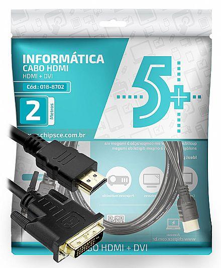 Cabo Conversor DVI-D para HDMI - 2 metros - Dual Link - 24+1 Pinos (DVI-D M X HDMI M)