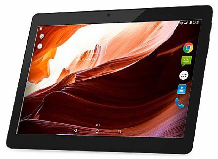 """Tablet Multilaser M10A - Tela 10"""", Quad Core 1.3GHz, 16GB, WiFi + 3G, Android 6.0 - Preto - NB253 - **Liquidação Peça de Vitrine**"""