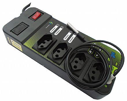 Filtro de Linha Inteligente SmartI9 i9Plug - Ligue e desligue aparelhos pela Internet ou via Wi-Fi - com 4 Tomadas - Bivolt - com Medidor de Temperatura In-Loco