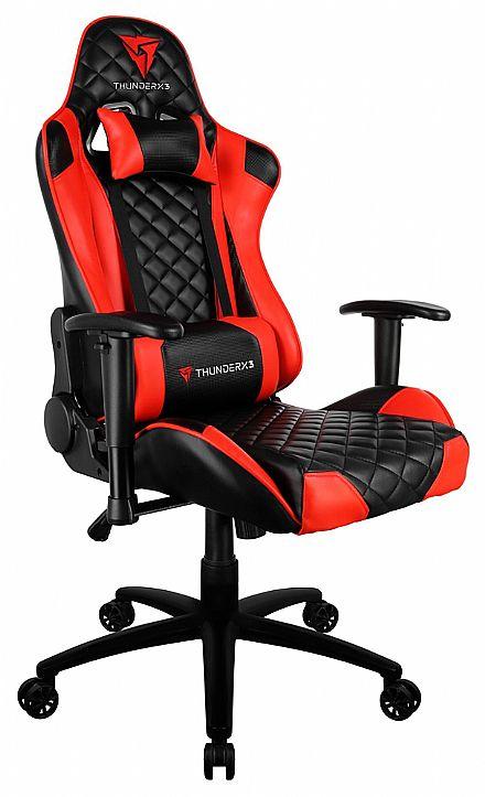 Cadeira Gamer ThunderX3 TGC12 - Encosto Reclinável de 180º - Construção em Aço - Vermelha e Preta