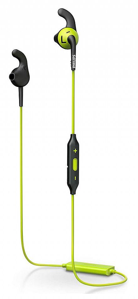 Fone de Ouvido Bluetooth Philips ActionFit - Resistente a Água - Preto e Verde - SHQ6500CL/00