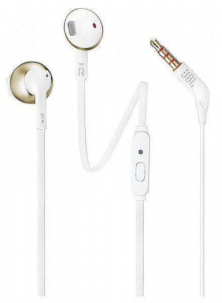 Fone de Ouvido Auricular JBL Tune 205 - com Microfone - Conector 3.5mm - Branco e Dourado - JBLT205CGD