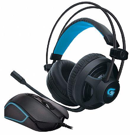 Kit Gamer Headset e Mouse Fortrek - Headset G Pro H2 + Mouse Pro M7 - Controle de volume e Cancelamento de Ruídos - 4800dpi - 8 Botões - Mouse com LED RGB