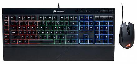 Kit Teclado e Mouse Gamer Corsair - Teclado K55 + Mouse Harpoon - ABNT2 - Teclas Multimídia - 6000dpi - 6 Botões - Iluminação RGB - CH-9206115-BR