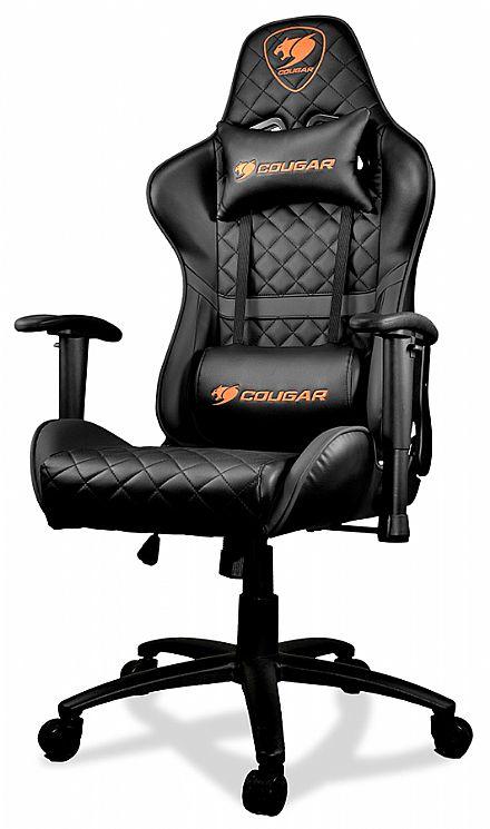 Cadeira Gamer Cougar Armor One Black - Encosto Reclinável de 180° - Construção em Aço - Preta