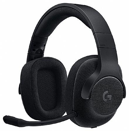 Headset Gamer Logitech G433 - 7.1 Surround Drivers Pro-G™ - Microfone destacável - Conector 3.5mm e USB - Preto - 981-000667