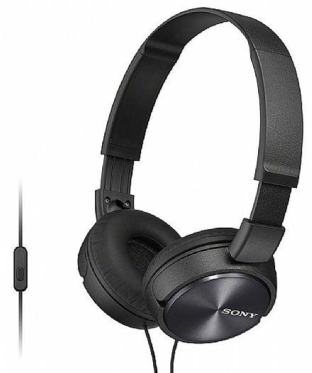 Fone de Ouvido Sony ZX310 - com Microfone - Conector 3.5mm - Preto - MDRZX310AP PT