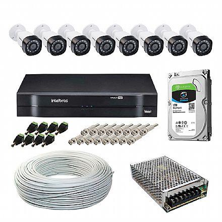Kit CFTV Intelbras - DVR 16 Canais MHDX 1116, 8 Câmeras Bullet VHD 1120 B G5, HD 1TB, Fonte Chaveada, Cabo Coaxial 100 metros, 8 Plugs P4 Macho + 16 Conectores BNC Macho