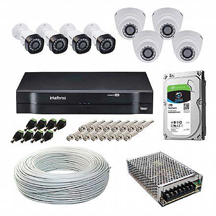 Kit CFTV Intelbras - DVR 16 Canais MHDX 1116, 4 Câmeras Bullet VHD 1120 B G5 + 4 Câmeras Dome VHD 1010 D G4, HD 1TB, Fonte Chaveada, Cabo Coaxial 100 metros, 8 Plugs P4 Macho + 16 Conectores BNC Macho