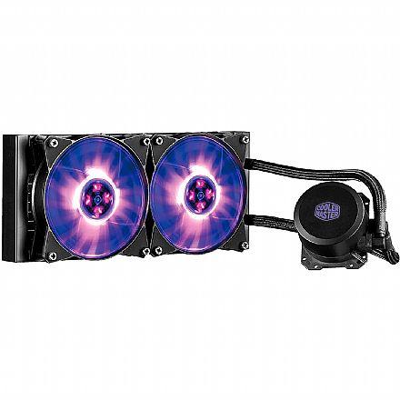 Water Cooler Cooler Master MasterLiquid ML240L - (AMD / Intel) - com LED RGB - MLW-D24M-A20PC-R1